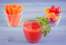 Vintage photo, Tomato juice and vegetables on blue board, healthy nutrition