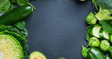 Assortment of organic green vegetables, clean eating vegan concept