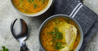 Chicken broth or soup with vegetable