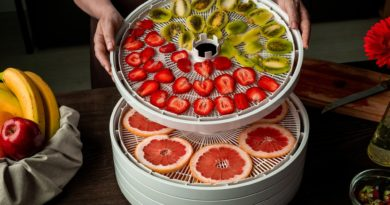 Stacking dehydrator trays with sliced fruits