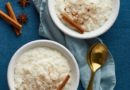 Rice pudding. French milk rice dessert. Healthy Vegan diet breakfast. Top view, vertical